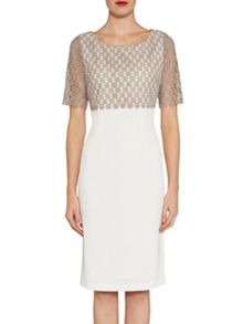 Gina Bacconi Crochet guipure top and crepe dress