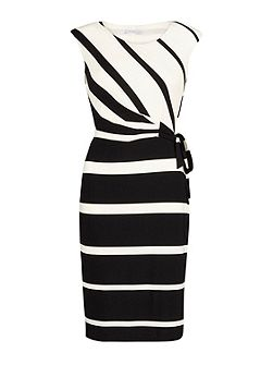 Graduated stripe jersey dress