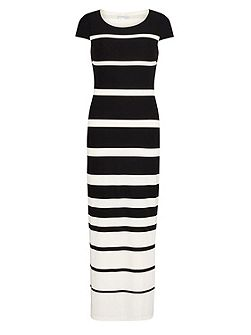 Stripe jersey dress with cap sleeve