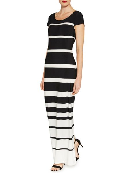 Gina Bacconi Stripe jersey dress with cap sleeve
