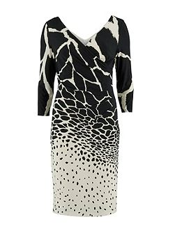 Printed jersey ruched dress v neck