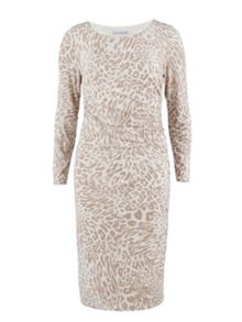 Gina Bacconi Beige animal print jersey ruched dress