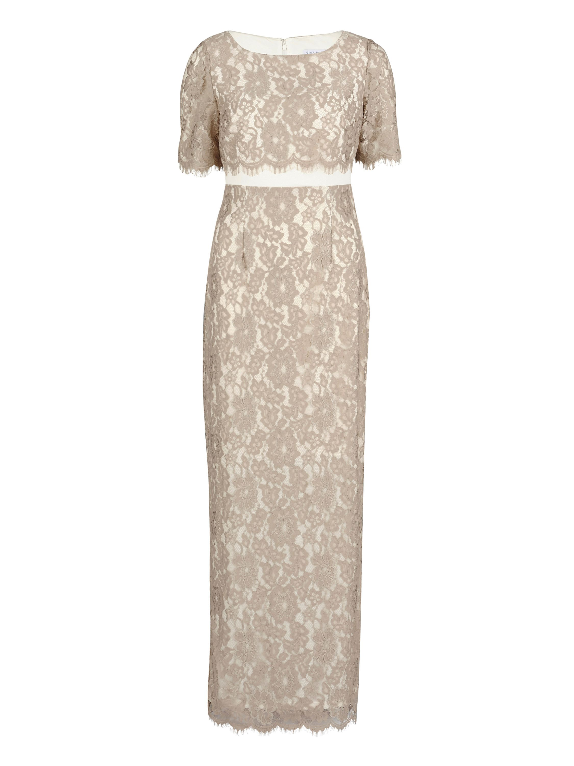 Gina Bacconi Scallop flower lace on crepe maxi dress, White
