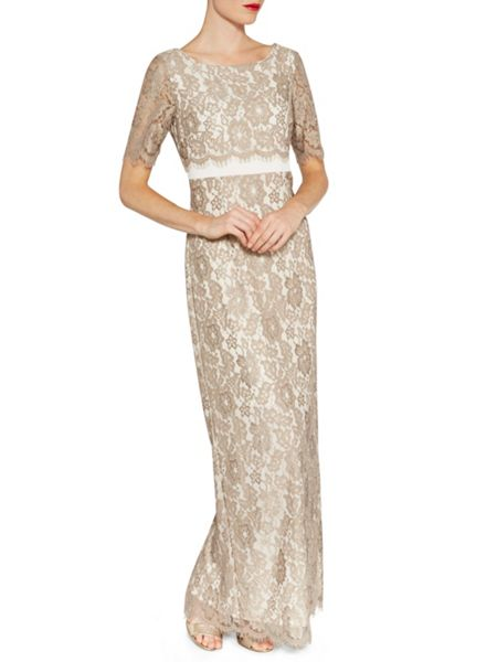 Gina Bacconi Scallop flower lace on crepe maxi dress