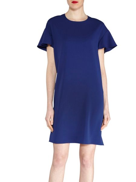 Gina Bacconi Stretch moss crepe dress frill sleeve