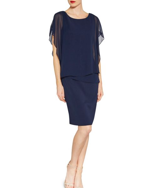Gina Bacconi Chiffon over crepe dress with bead edge