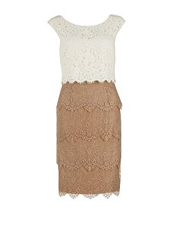 Lace layered contrast scalloped dress