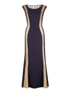 Gina Bacconi Maxi dress with sheer and sequined bands