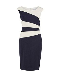 Soft ponti dress with contrast panels