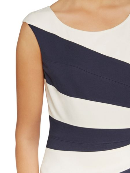 Gina Bacconi Soft ponti dress with contrast panels