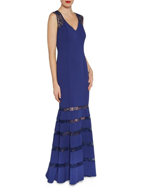 Gina Bacconi Sequinned lace and crepe maxi dress