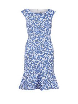 Printed scuba godet dress