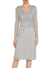 Gina Bacconi Floral stretch lace ruched dress