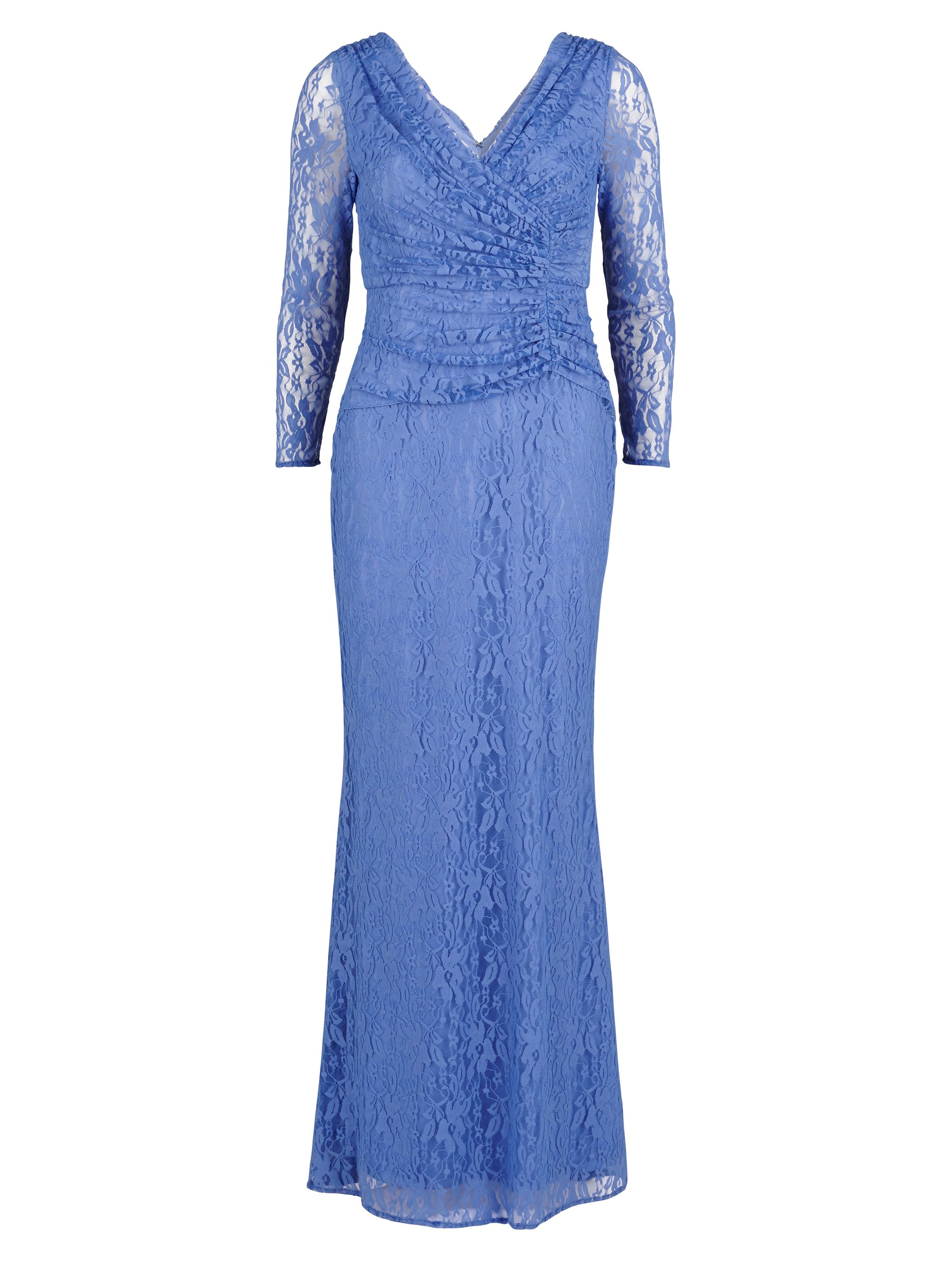 Gina Bacconi Stretch floral lace long ruched dress, Blue