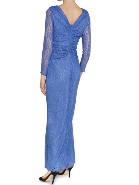 Gina Bacconi Stretch floral lace long ruched dress