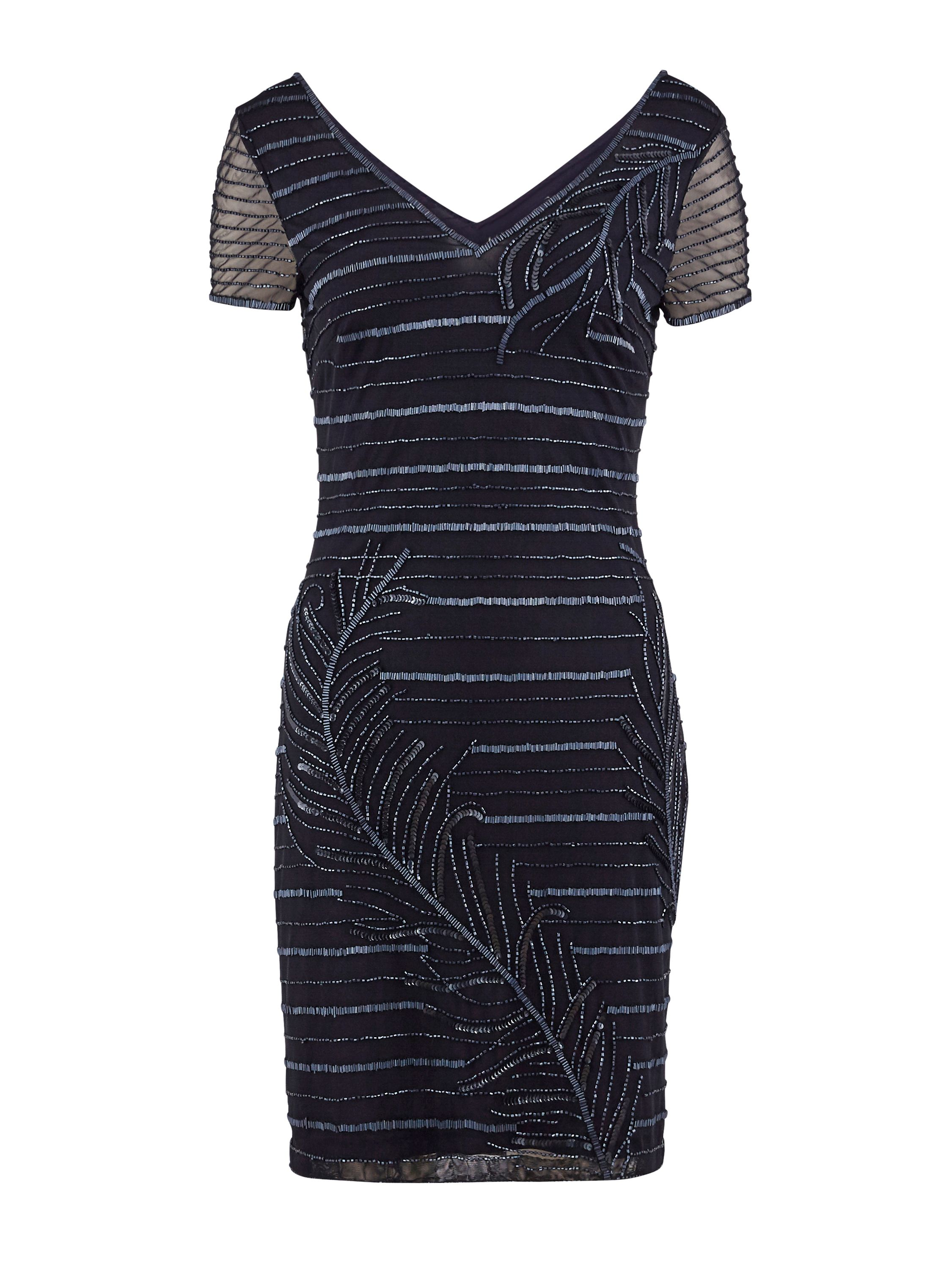Gina Bacconi Beaded mesh dress, Blue