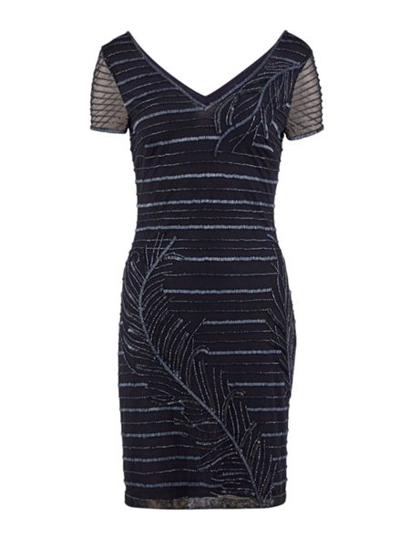 Gina Bacconi Beaded mesh dress