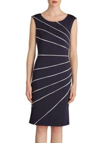 Gina Bacconi Soft ponti dress with contrast piping