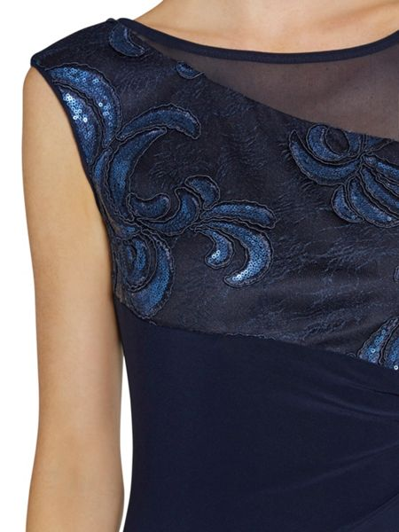 Gina Bacconi Jersey dress with mesh and sequin top