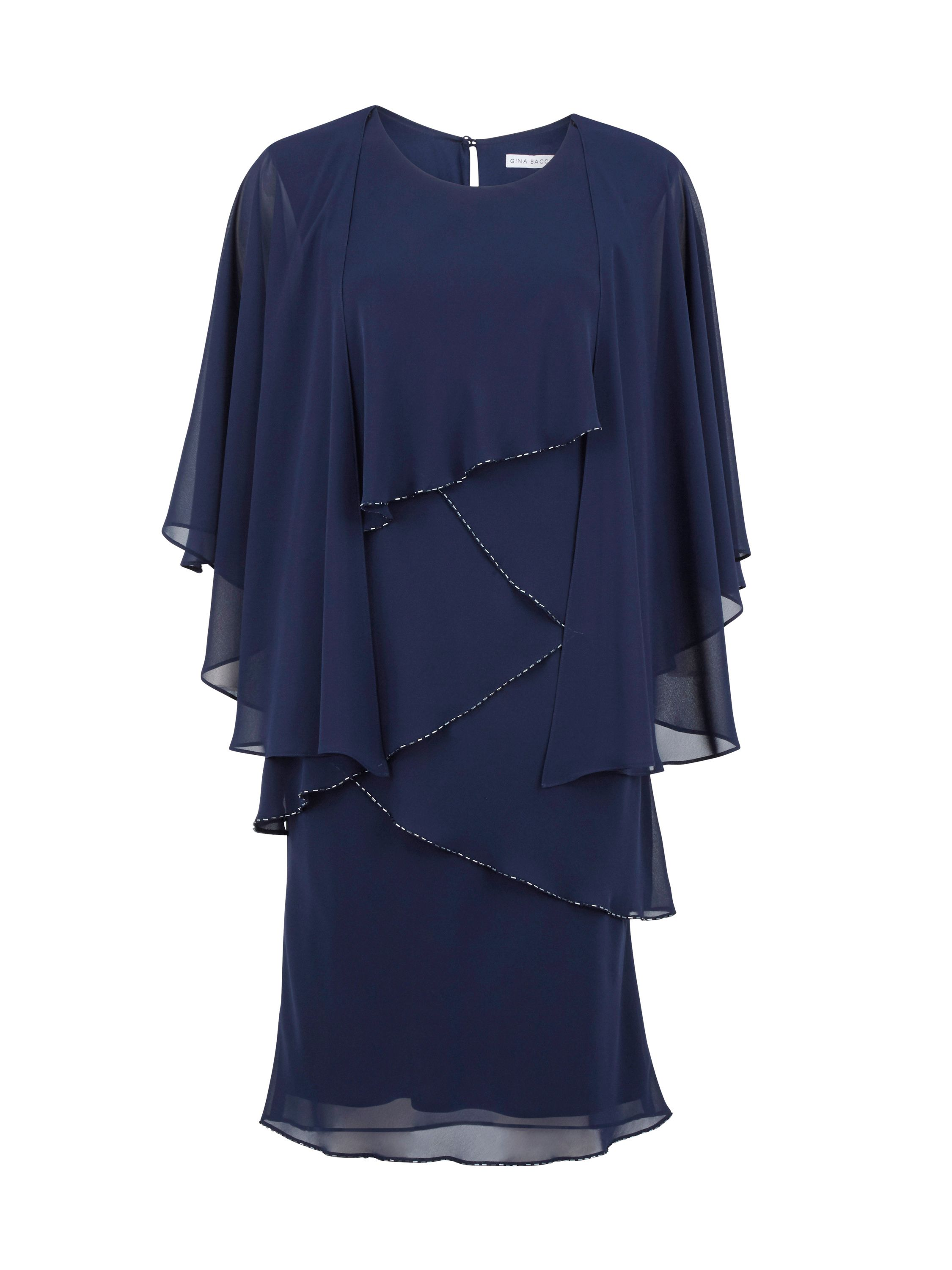 Gina Bacconi Chiffon shawl and beaded edge dress, Blue