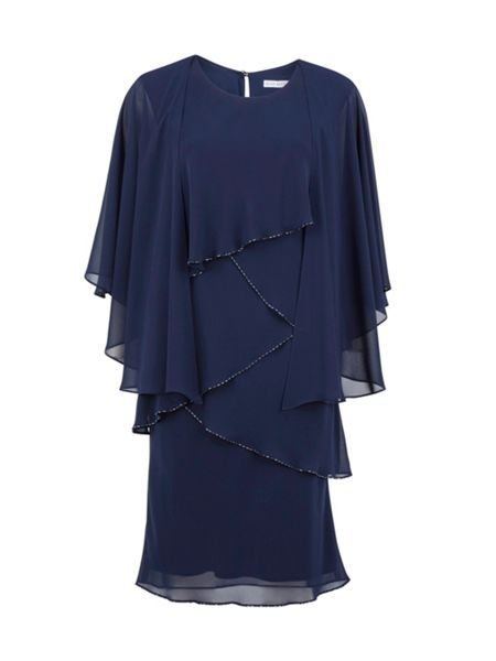 Gina Bacconi Chiffon shawl and beaded edge dress