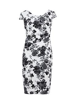 Black white floral pique knit dress