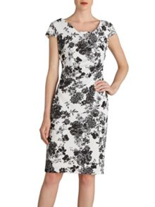 Gina Bacconi Black white floral pique knit dress
