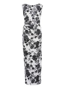 Gina Bacconi Floral pique knit dress with boat neck