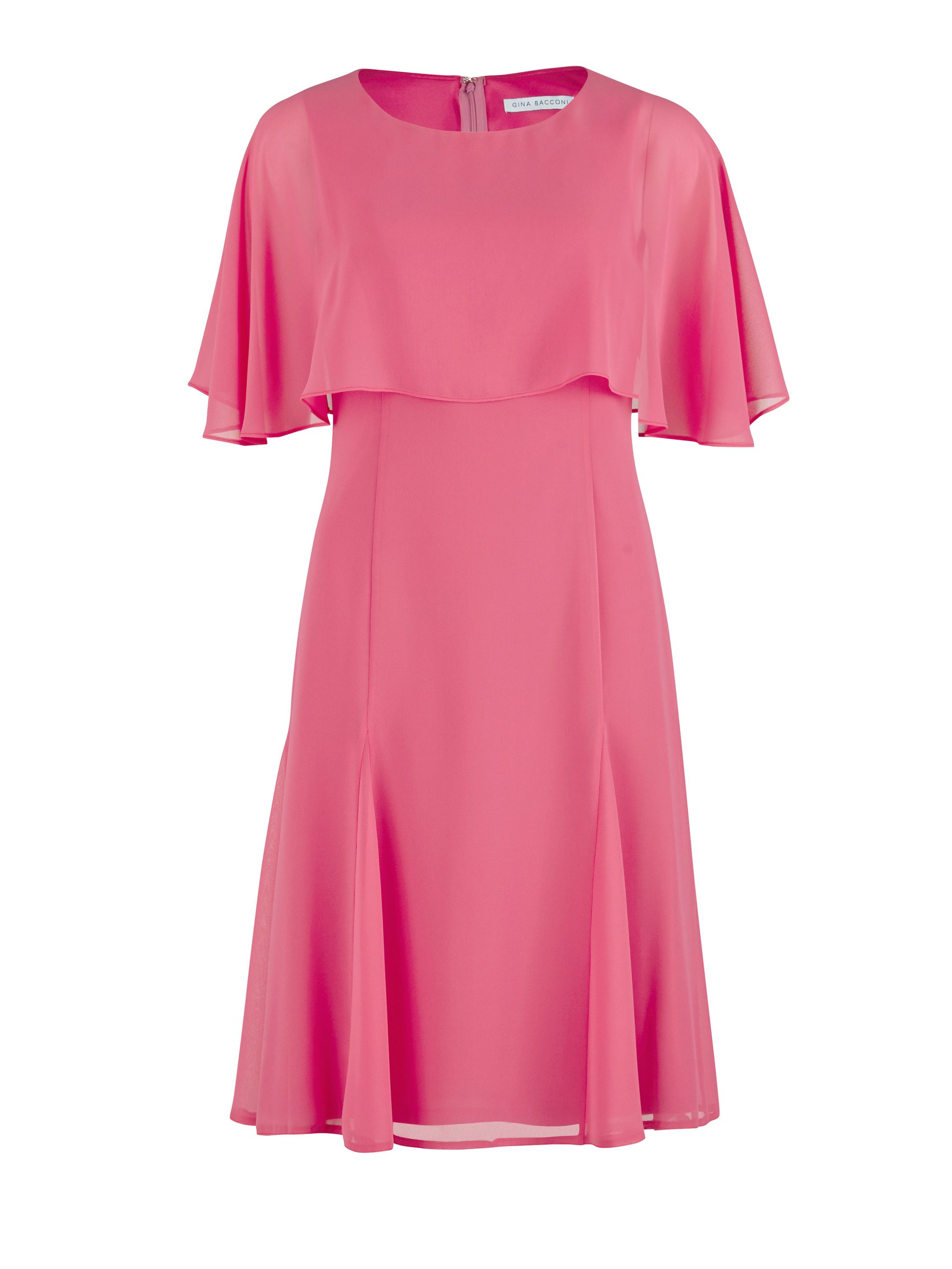 Gina Bacconi Chiffon dress with cape, Pink