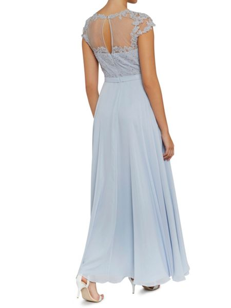 Gina Bacconi Maxi chiffon dress with fancy bodice