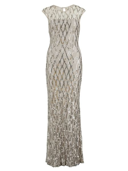 Gina Bacconi Sequin lace maxi dress