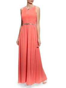 Chiffon beaded dress with ruched bodice