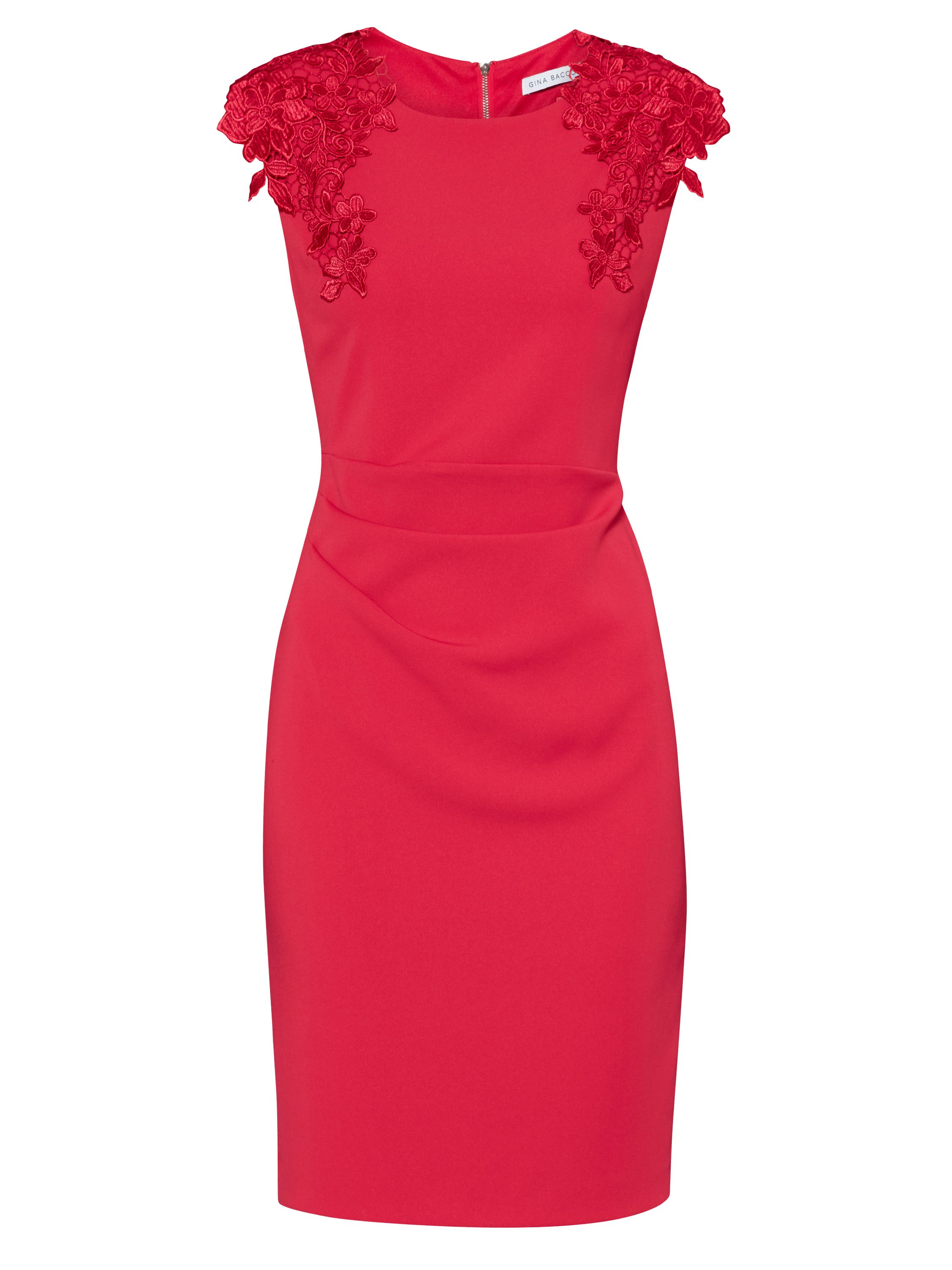 Gina Bacconi Crepe dress with guipure shoulder trim, Red