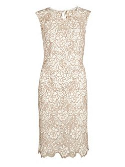 Bouquet guipure lace shift dress