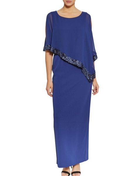 Gina Bacconi Moss crepe dress and sequin chiffon cape