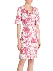 Gina Bacconi Pink floral stretch cotton dress jacket