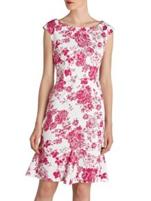 Gina Bacconi Pink floral stretch cotton godet dress