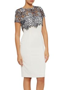 Gina Bacconi Crepe dress with bouquet guipure overtop
