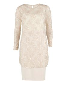 Gina Bacconi 2 toned beaded and 2 toned crepe dress