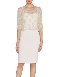 Gina Bacconi 2 tone beaded top and 2 tone crepe dress