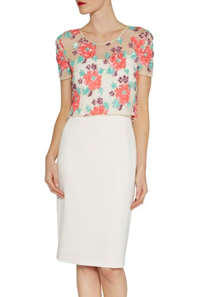 Gina Bacconi Floral sequin and beaded top with dress
