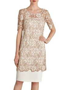 Gina Bacconi Guipure half sleeved top over dress