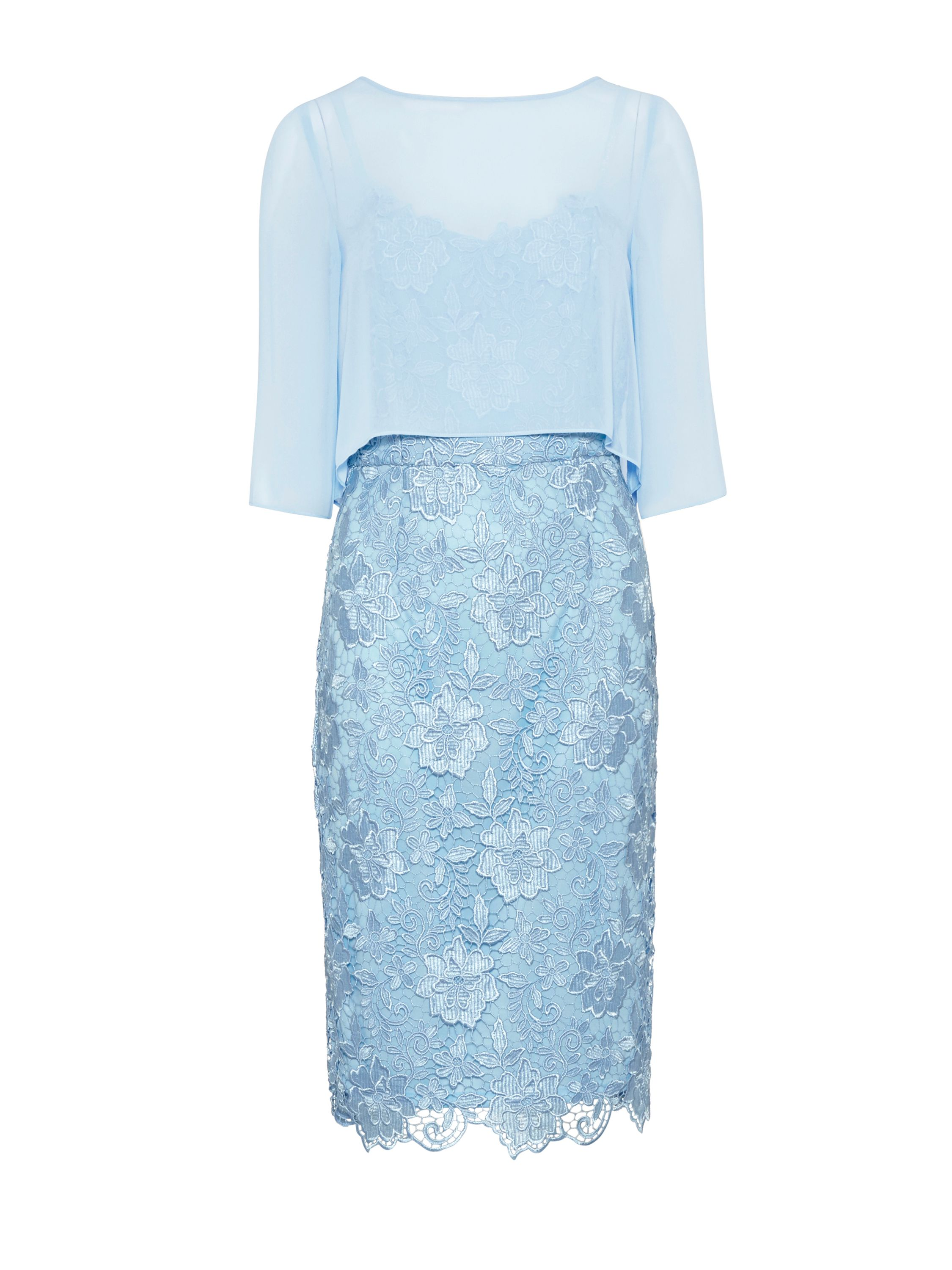 Gina Bacconi Bouquet guipure dress with chiffon top, Blue