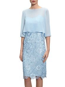 Gina Bacconi Bouquet guipure dress with chiffon top