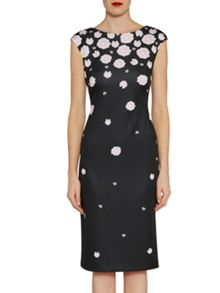 Gina Bacconi Scattered pink carnation print dress