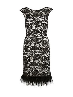 Lace dress with feathered trim