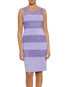 Gina Bacconi Crochet and crepe banded dress