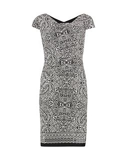 Aztec border print stretch cotton dress