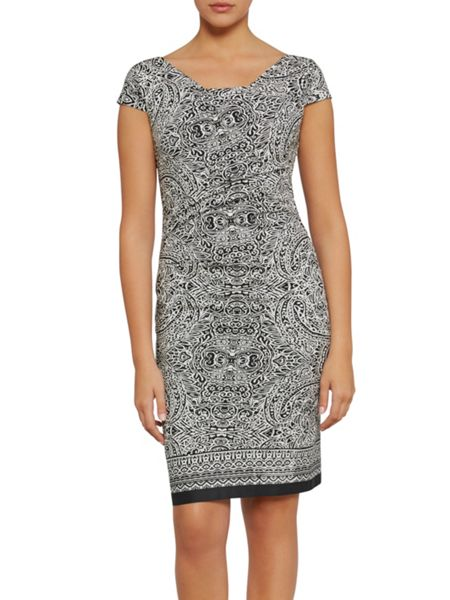 Gina Bacconi Aztec border print stretch cotton dress