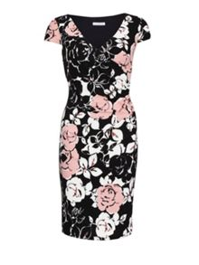 Gina Bacconi Pink floral print textured jersey